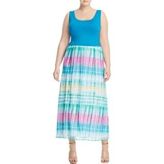 Calvin Klein Womens Plus Maxi Dress Tie Dye Shift