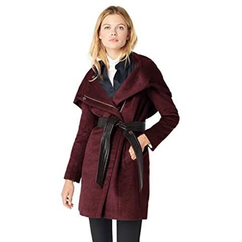 Cole Haan Women's Belted Asymmetrical Wool Coat, Bordeaux, 12