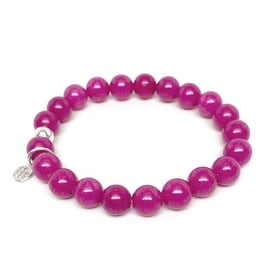 Lucy Fuchsia Jade Stretch Bracelet, Sterling Silver