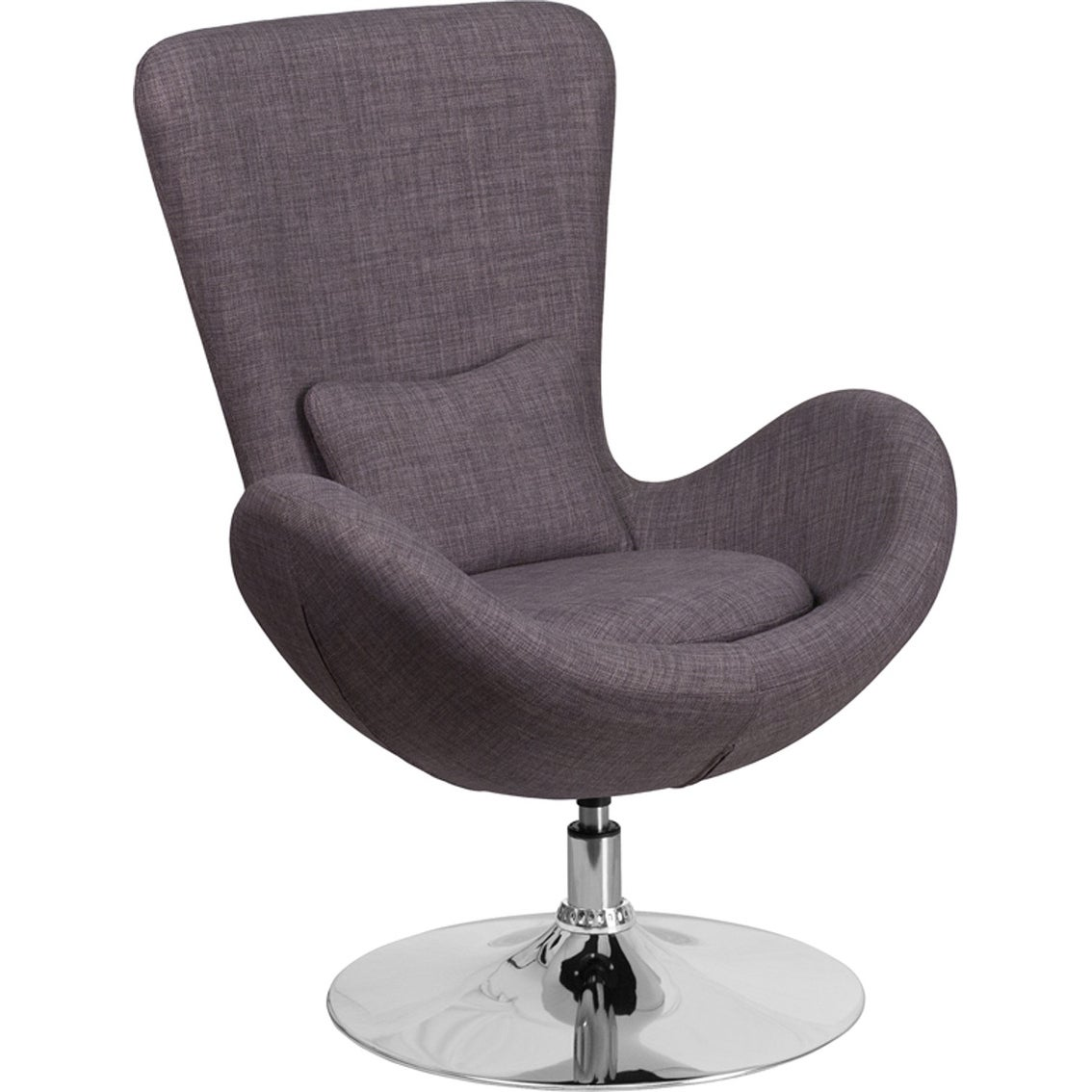 Radisson Dark Gray Fabric Side Office Reception/Guest Egg Chair, Curved Arms