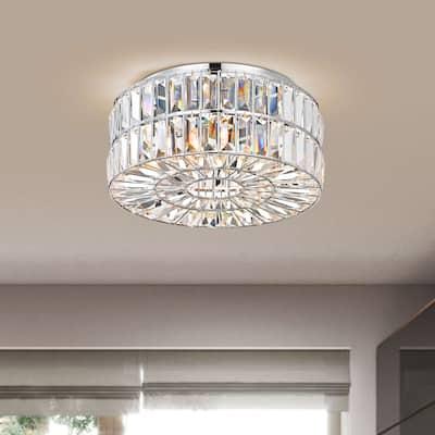 Justina 4-Light Chrome Crystal Glass Prism Flush Mount