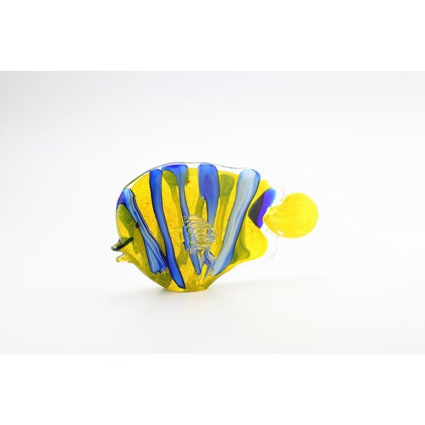 "11"" Blue and Yellow Hand Blown Glass Fish Figurine - N/A"