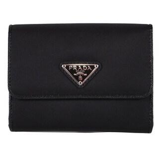 """Prada Women's 1MH523 UZO Black Nylon Small Bifold French Wallet W/Coin - 5"""" x 4"""""""