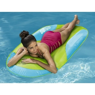 """66"""" Aqua and Lime Green Mesh SunDry Swimming Pool Spring Float Lounger - Blue"""