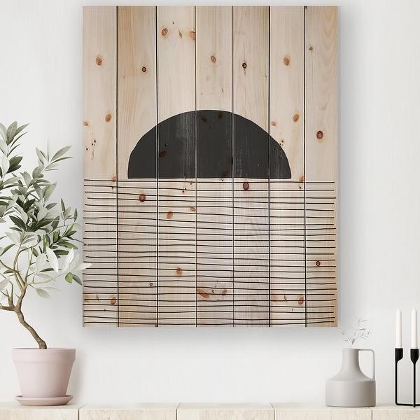 Designart 'Minimal Geometric Lines And Circle V' Modern Print on Natural Pine Wood. Opens flyout.