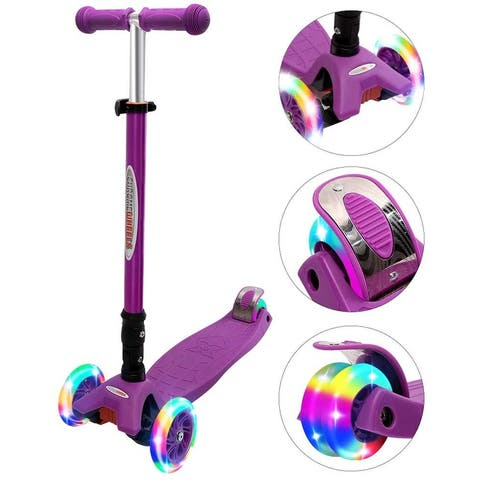 Buy Wonder Products Mega 3-Wheel Foldable Scooter With Lightup Wheels & Extendable T-Bar For 3-12 Years Purple