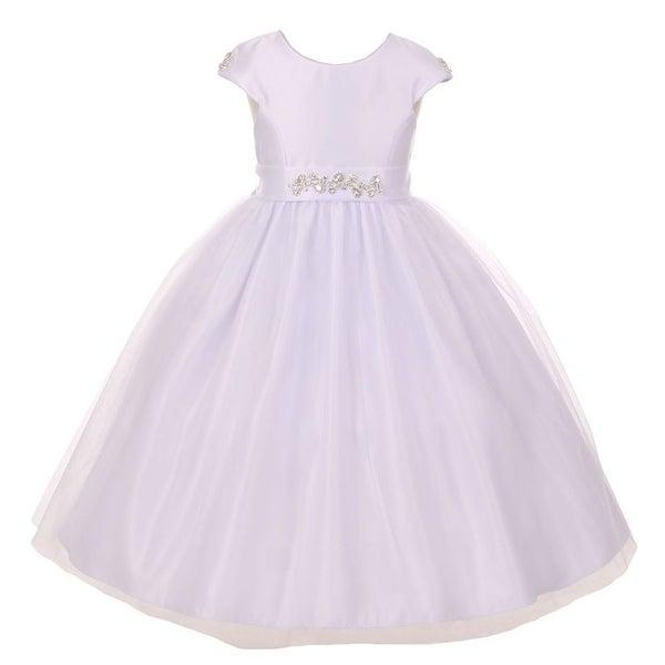 c01b3fe91 Shop Girls White Shiny Tulle Dull Satin Rhinestone Flower Girl Dress 8-12 -  Free Shipping Today - Overstock - 18169344