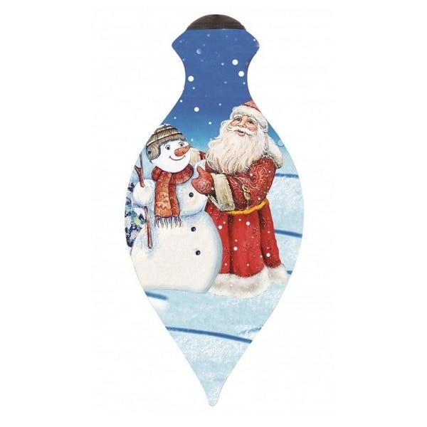 "Ne'Qwa ""Santa And Snowman"" Hand-Painted Blown Glass Christmas Ornament #7151133"