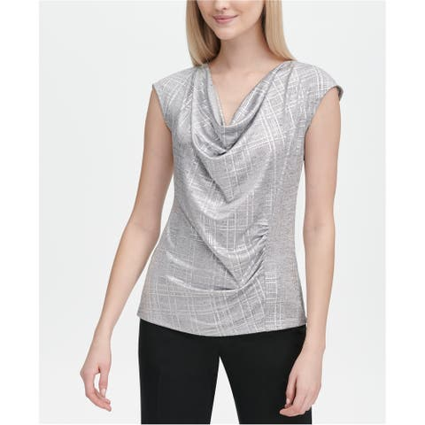 Calvin Klein Womens Metallic Drape Pullover Blouse, metallic, X-Small