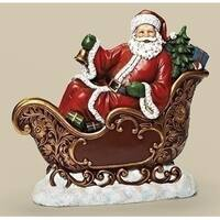 "15.5"" Red and Gold Colored Santa in Sleigh Tabletop Christmas Figure"