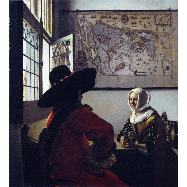 Easy Art Prints Johannes Vermeer's 'Officer and a Laughing Girl' Premium Canvas Art