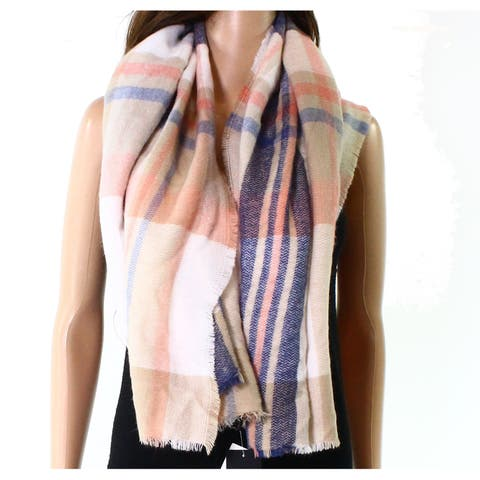 David & Young Cream Beige Blue Pink Women's One Size Fraye Plaid Scarf