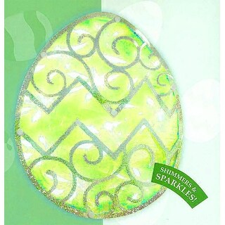 """12"""" Lighted Green Easter Egg Window Silhouette Decoration"""