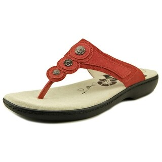 Propet Monica Women Open Toe Leather Red Thong Sandal