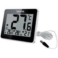 Taylor 1710 Wired Digital Indoor/Outdoor Thermometer, Black
