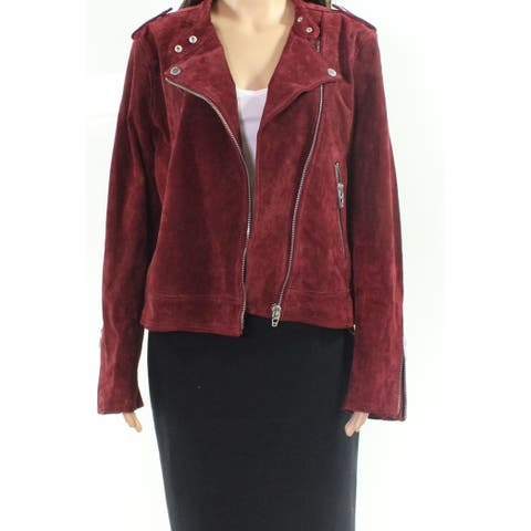 Blank NYC Red Womens Size Large L Faux-Suede Motorcycle Jacket