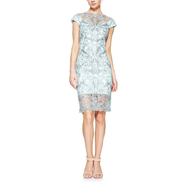 6b6b63b1 Shop Tadashi Shoji Abigail Corded Lace Cap Sleeve Cocktail Dress Mint/Grey  - Free Shipping Today - Overstock - 25773182