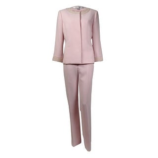 Tahari Women's Blair Beaded Trim Scoop Neck Crepe Pant Suit - 6