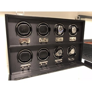 WOLF Heritage Black Faux Leather 8-piece Watch Winder
