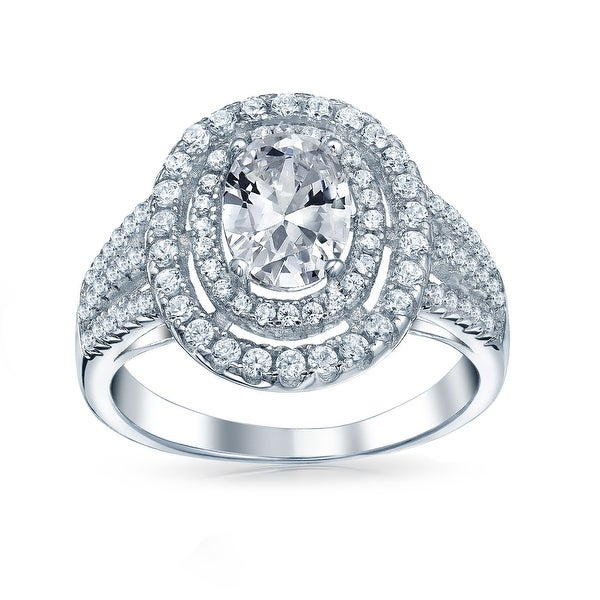 1CT Halo Oval Solitaire AAA CZ Engagement Ring 925 Sterling Silver. Opens flyout.