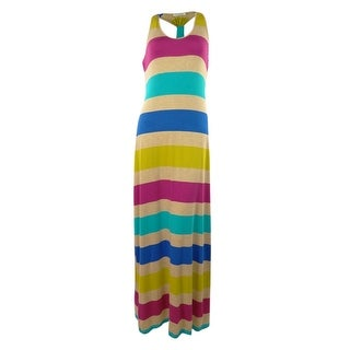 Calvin Klein Women's Striped Scoop Neck Racerback Maxi Dress - 2