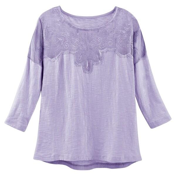 Women's Crochet Accent T-Shirt - 100% Cotton 3/4 Sleeve Extended Hem Fashion Tee