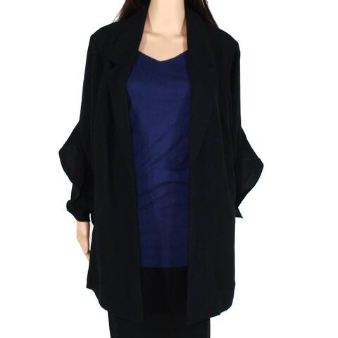 Alfani Womens Jacket Rich Black Size 2X Plus Flyaway Ruffle Sleeve