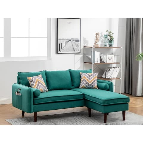 Mia Green Linen Fabric Sectional Sofa Chaise with USB Charger & Pillows