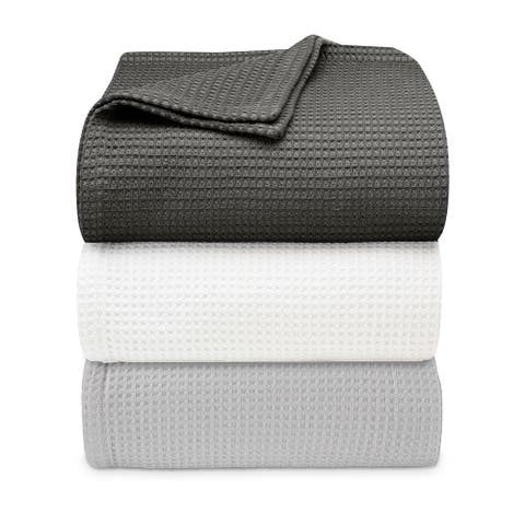 Vera Wang Waffleweave Cotton Blanket