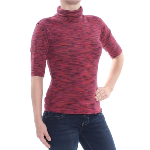 FREE PEOPLE Womens Red Short Sleeve Turtle Neck Top Size XS