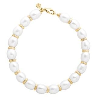 Honora Freshwater Pearl Ringed Spacer Bracelet in 10K Gold