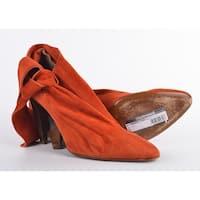 Roberto Cavalli Dark Orange Suede Bow Ankle Strap Bootie