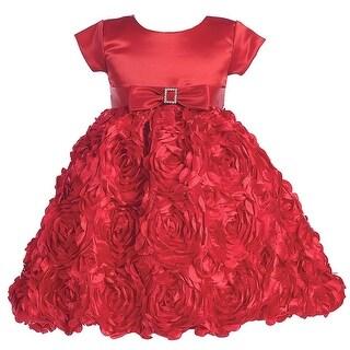 Red Satin Floral Ribbon Christmas Flower Girl Dress Girls 2T-12
