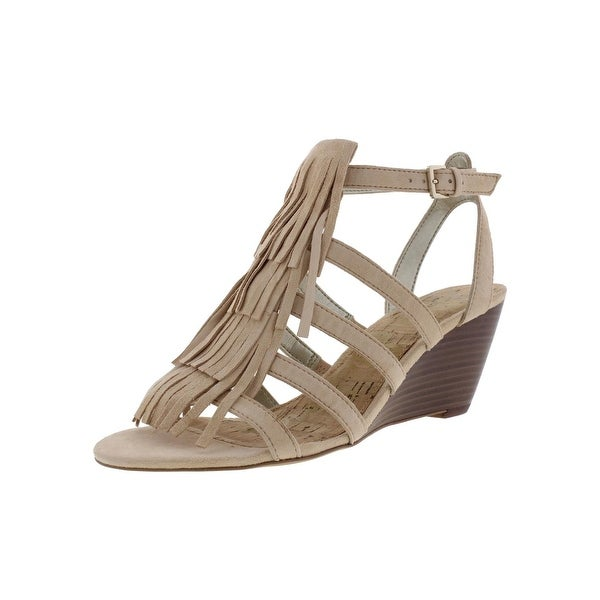 Sam Edelman Womens Sandra Wedge Sandals Suede Fringe