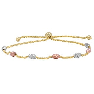 Amanda Rose 14k Tri-tone Gold Beaded Bolo Bracelet (Adjustable) - Yellow