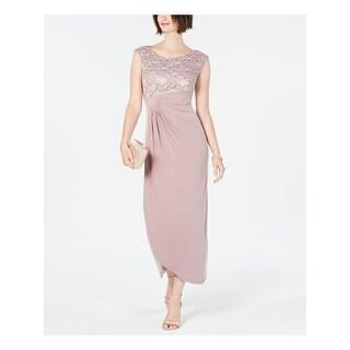 CONNECTED APPAREL Pink Cap Sleeve Tea-Length Dress 16