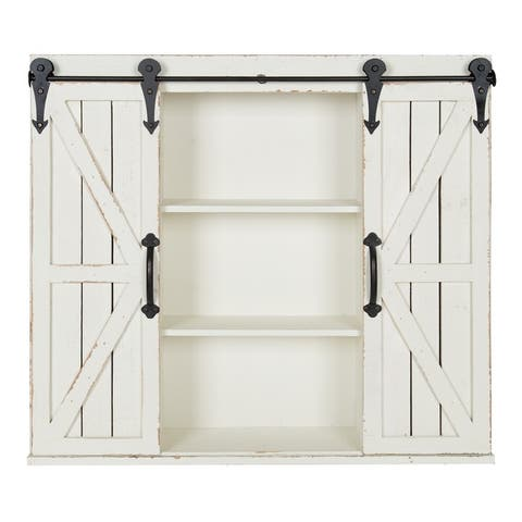 Kate and Laurel Cates Rustic Wood Decorative Cabinet with Barn Doors