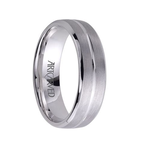 DYNASTY Palladium Ring with Brushed Center and Polished Groove by Artcarved - 4.5 mm