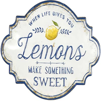 Life Gives You Lemons Make Something Sweet Metal Wall Décor, White - Exact Size