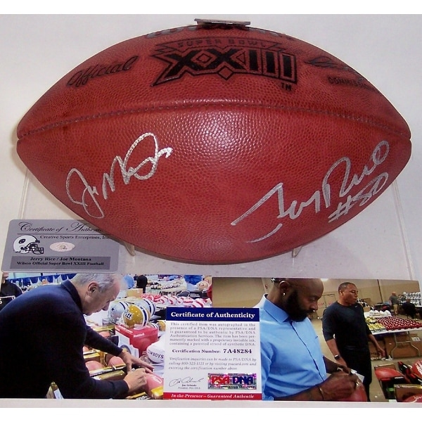 bf1b8a5236b Shop Joe Montana   Jerry Rice Autographed Hand Signed Super Bowl 23 XXIII  Official NFL Football - PSA DNA - Free Shipping Today - Overstock - 12904705
