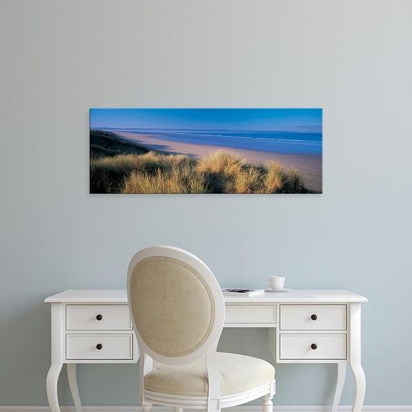 Easy Art Prints Panoramic Images's 'Tall grass on the coastline, Saunton, North Devon, England' Premium Canvas Art