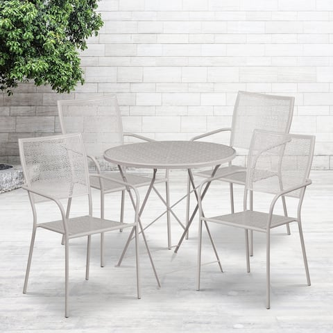 "30"" Round Light Gray Indoor-Outdoor Steel Folding Patio Table Set with 4 Chairs"
