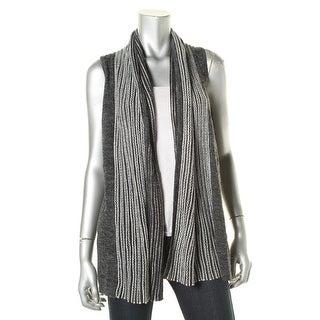 Colour Works Womens Open Front Striped Trim Sweater Vest - S