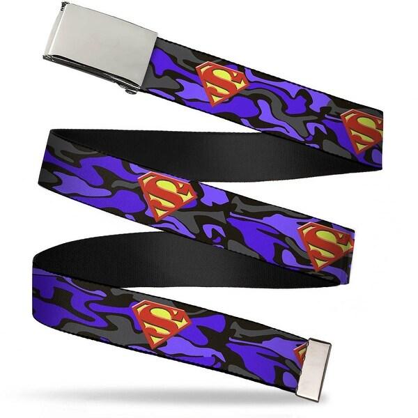 Blank Chrome Buckle Superman Shield Camo Blue Webbing Web Belt - S