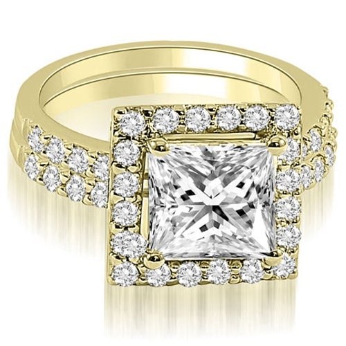 1.46 cttw. 14K Yellow Gold Princess And Round Cut Halo Diamond Bridal Set