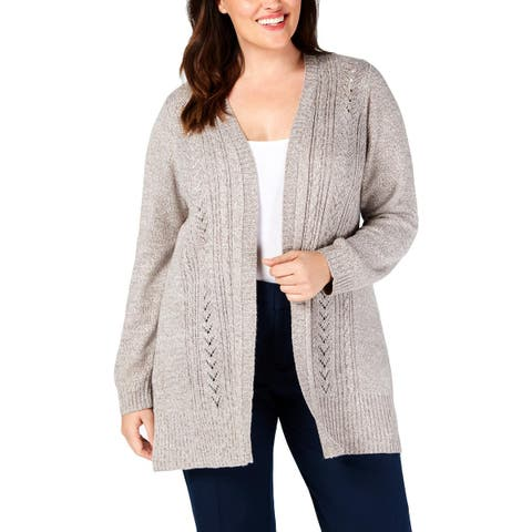 Karen Scott Womens Plus Cardigan Sweater Eyelet Open Front - 0X