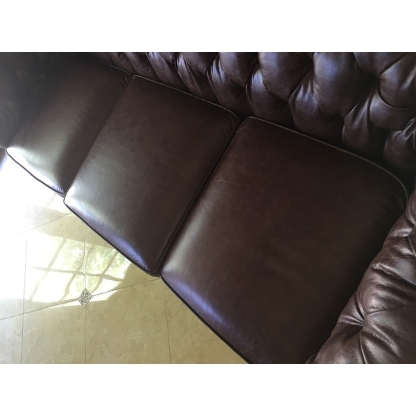 Shop Hancock Tufted Brown Leather Chesterfield Sofa On Sale Free