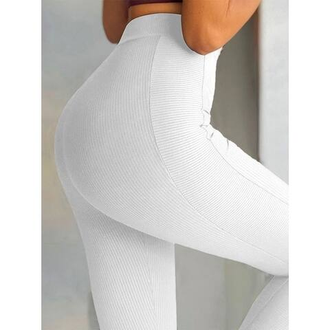 Solid Color Pit Knit Tight-Fitting High-Waist Buttocks Yoga Leggings