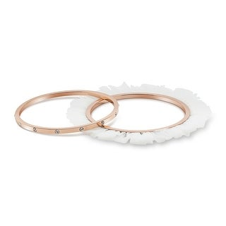 Rose Gold Plated Ballerina Bracelets with Zircon & Tulle (Set Of 2)
