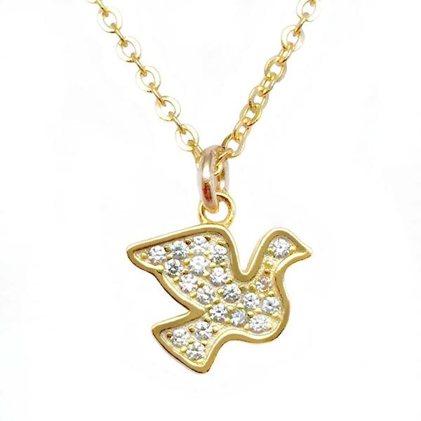 "Julieta Jewelry CZ Dove Gold Charm 16"" Necklace - Thumbnail 0"